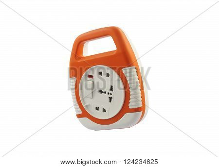 Power extension socket Isolate on White Background