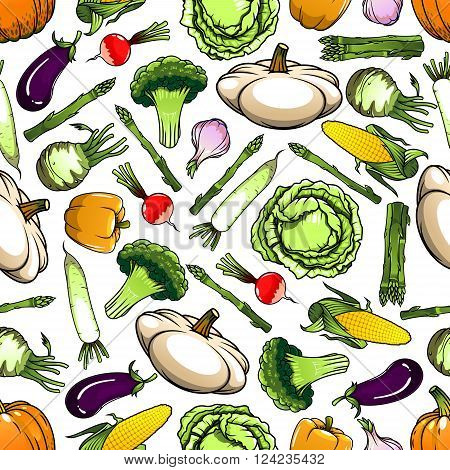 Seamless pattern of wholesome cabbages and broccoli, corn cobs and eggplants, bell peppers and garlic, pumpkins and kohlrabi, asparagus and radishes, daikon and  pattypan squashes vegetables on white background. Agriculture theme