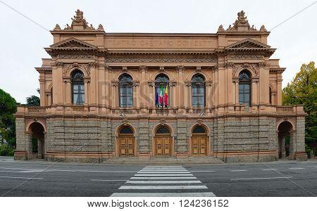 Bergamo. Gaetano Donizetti theater. Gaetano Donizetti was a famous Italian composer of Bergamo