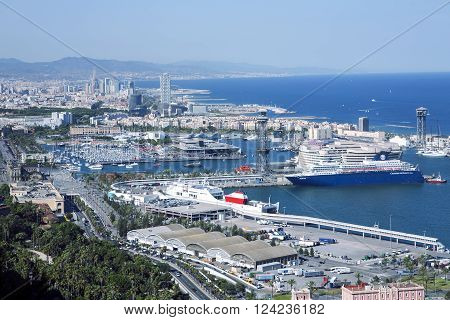 SPAIN, BARCELONA, JUNE, 27, 2015 -A view of the port from the hill of Montjuic, Catalonia, Spain.