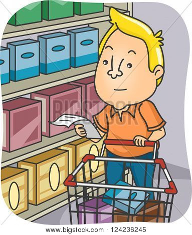 Illustration of a Man Checking Out his Grocery List