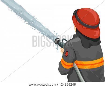 Illustration of a Male Firefighter Using a Fire Hose