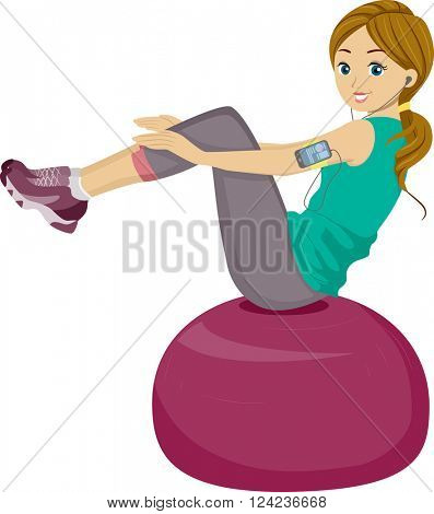 Illustration of a Teenage Girl Using a Balance Ball for Working Out