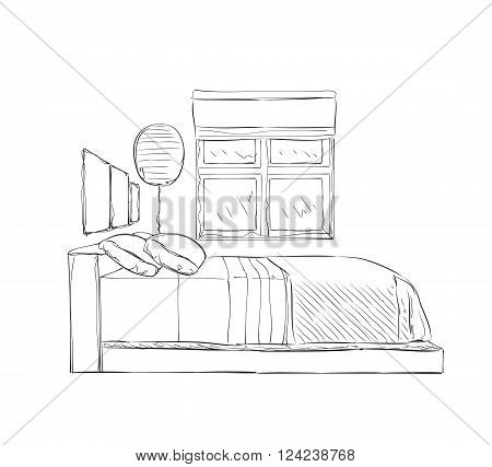 Modern bedroom with furniture. Hand drawn sketch illustration