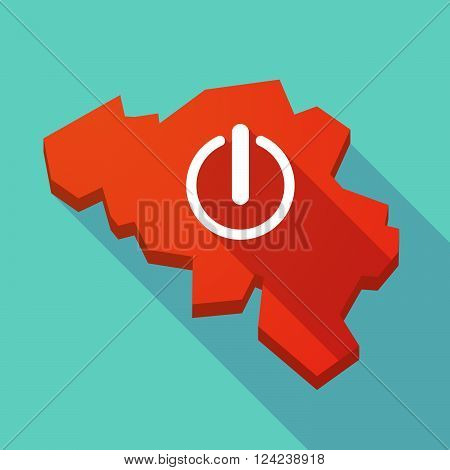 Long Shadow Map Of Belgium With An Off Button