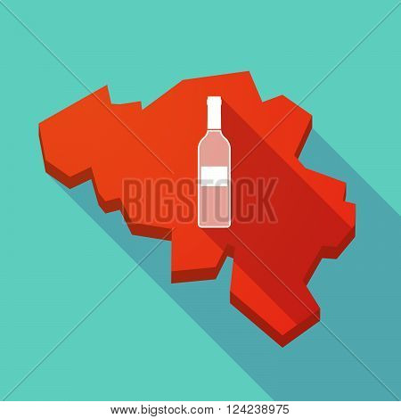 Long Shadow Map Of Belgium With A Bottle Of Wine