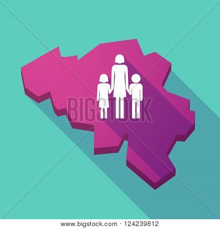Long Shadow Map Of Belgium With A Female Single Parent Family Pictogram