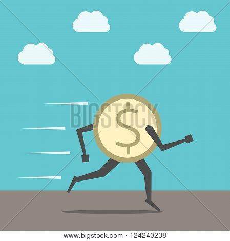 Fast golden dollar coin running on ground on sky background. Finance currency economic savings investment panic crisis rallying concept. EPS 8 vector illustration no transparency