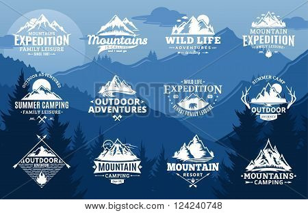 Set of vector mountain and outdoor adventures logo on mountain landscape background. Tourism hiking and camping labels. Mountains and travel icons for tourism organizations outdoor events and camping leisure.