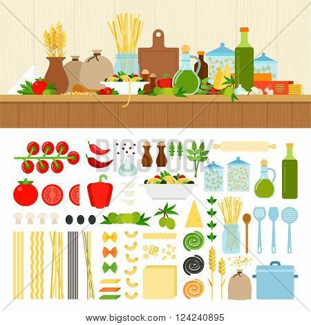 Pasta ingredients vector flat illustrations. Products for cooking pasta on the table in the kitchen. Italian cuisine concept. Noodles, tomatoes, spices isolated on white background