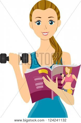 Illustration of a Teenage Girl Lifting a Dumbbell  While Reading a Magazine