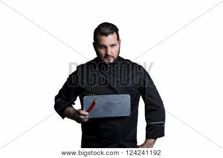 cook, man, slate plate, board, chilli, cookery, male,