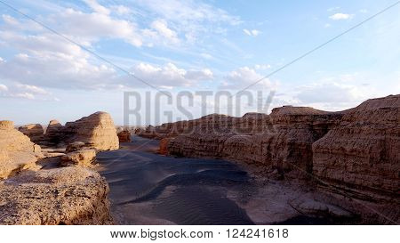 Yadan National Geological Park, also known as the evil's city, at DunHuang, GanSu, China ** Note: Soft Focus at 100%, best at smaller sizes