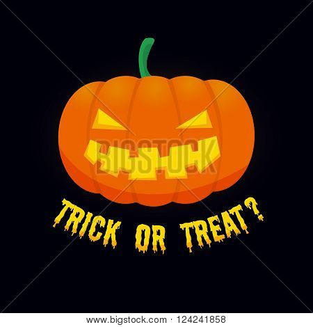 Vector background with halloween scary smiling pumpkin and trick or treat text