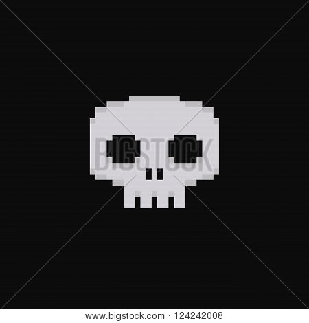 Pixel art 8-bit skull isolated on dark background