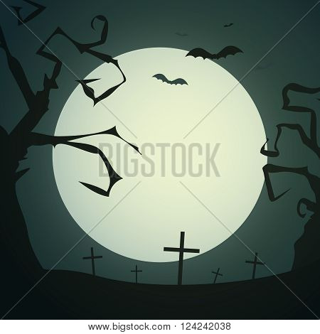 Spooky background with dead gnarled trees crosses bats and full moon