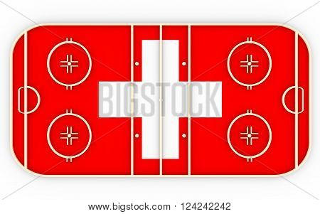 Ice hockey field textured by Switzerland flag. Relative to world competition . 3D rendering. Simple playground