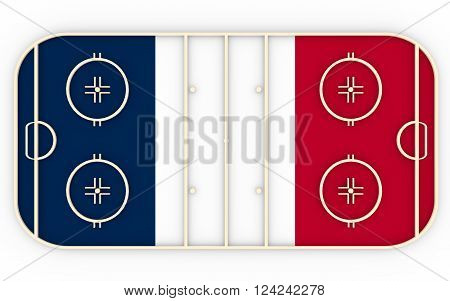 Ice hockey field textured by France flag. Relative to world competition . 3D rendering. Simple playground