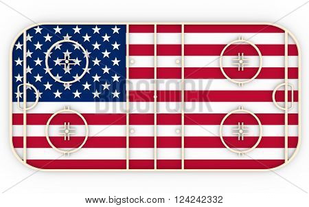 Ice hockey field textured by USA flag. Relative to world competition . 3D rendering. Simple playground