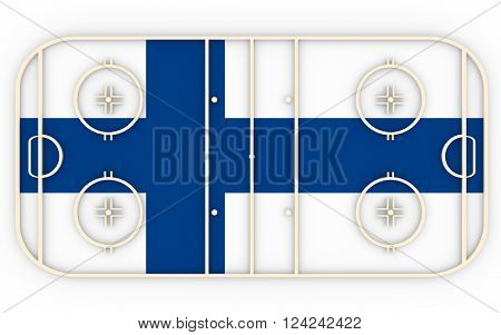 Ice hockey field textured by Finland flag. Relative to world competition . 3D rendering. Simple playground
