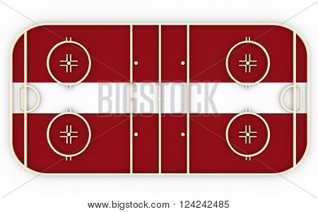 Ice hockey field textured by Latvia flag. Relative to world competition . 3D rendering. Simple playground