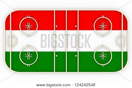 Ice hockey field textured by Hungary flag. Relative to world competition . 3D rendering. Simple playground