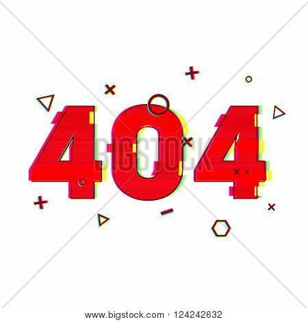 Design page 404 page not found. Error 404 red in glitch and noise style. banner design error page in red and vsh effect on a white background. Vector