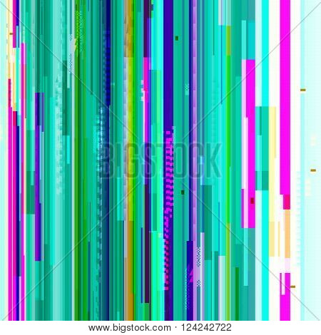 Vector glitch background. Digital image data distortion. Corrupted image vector file. Colorful abstract glitch background. Glitch background of signal error. Digital decay.