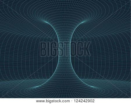 Digital surface grid. Abstract cyber space funnel. 3d tube pipe corridor. Gravitational waves consept. Connection beetwen two worlds. Spatial  extension distortion. Digital vector illustration eps10