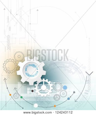 Vector illustration gear wheel and circuit board. Hi-tech digital technology and engineering digital telecom technology concept. Abstract futuristic on light blue color background