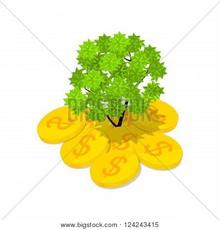 Isometric money tree. Green Vera growing out of money. Gold coins. The concept of success. A lot of dollars. The financial wealth. Vector illustration.