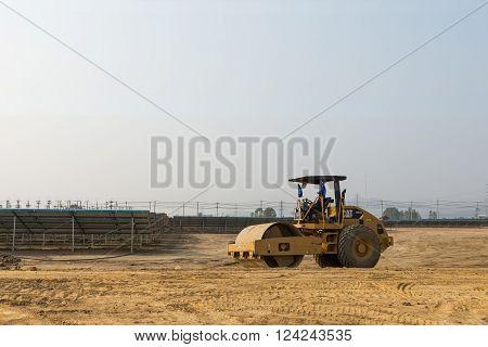 Soil Compactor In The Under Construction Solar Farm