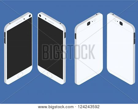 Cell phone. Flat isometric. Mobile device. Modern technologies of communication. Communication and management. White smartphone. Touchscreen display. Vector illustration.