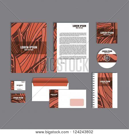 Corporate identity template with hand drawn red exotic tropical leaf pattern, creative stationery branding mock-up set of separated, movable objects. EPS 10.