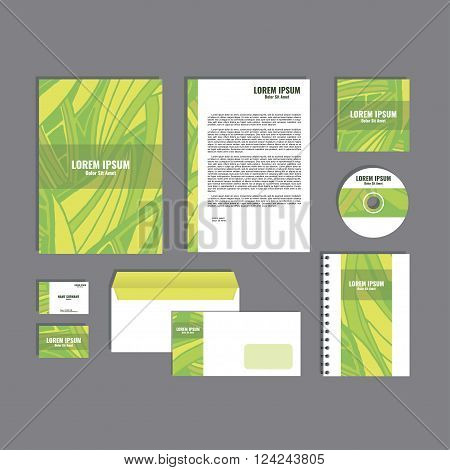 Corporate identity template with hand drawn yellow and green exotic tropical leaf pattern, creative stationery branding mock-up set of separated, movable objects. EPS 10.