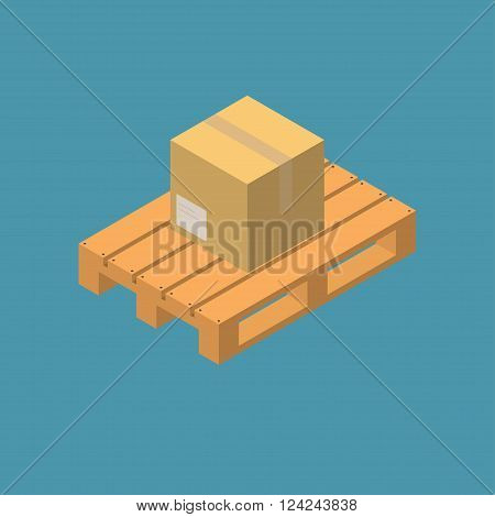 Closed carton delivery packaging box on wooden pallet isolated on blue background, isometric view, vector illustration