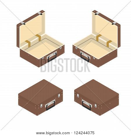 Brown suitcase. Transportation of things in the journey. Vintage leather suitcase. Summer vacation. Isolated on white background. Vector illustration.