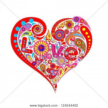 Print with abstract heart shape with colorful flowers