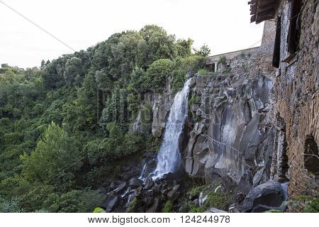 Waterfall in the ancient town of Nepi in Italy.
