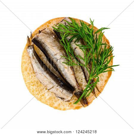 Small Sandwich With Sprats And Dill