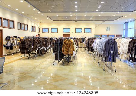 GREECE KASTORIA - March 12.2016: Showroom coats with fur factory