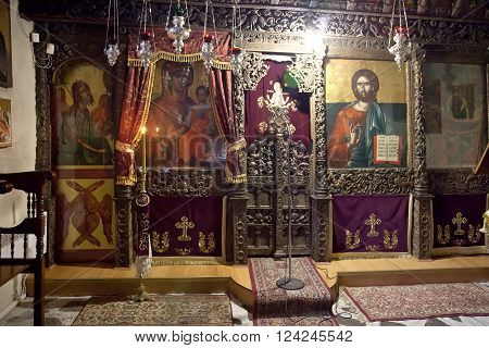 GREECE, KASTORIA - March 12.2016: Church of the XVI century of Our Lady Mavritosy. Ancient iconostasis