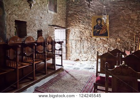 GREECE, KASTORIA - March 12.2016: Church of the XVI century of Our Lady Mavritosy. Interior of temple