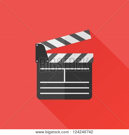 Director clapperboard flat icon with long shadow. Movie clapper board. Vector Illustration.