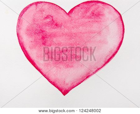 Watercolor red heart isolated on white background. Holiday Valentines day card. Hand painting - vector