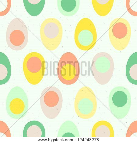 Abstract cut boiled eggs with yolk seamless pattern