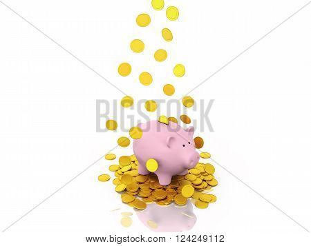 Piggy with Gold Coin - 3D Rendered Image