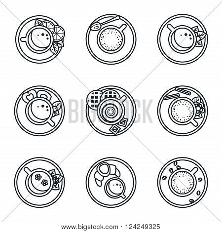 Black lineart icon set. Coffee, tea, drinks and cocktails. Vector illustration in eps10