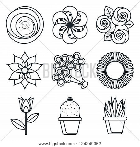 Black lineart icon set. Flowers vector icons on white background