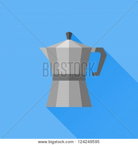 Italian coffee pot flat icon with long shadow on blue background. Coffee maker. Vector illustration.